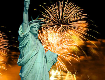 The Statue of Liberty and 4th of July fireworks   photo