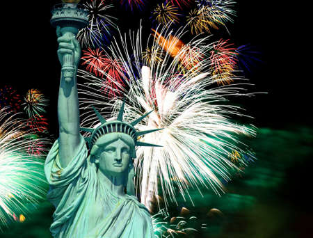liberty: The Statue of Liberty and 4th of July fireworks