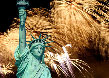 fourth july: The Statue of Liberty and 4th of July fireworks