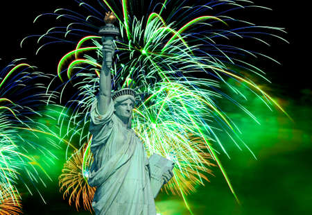 The Statue of Liberty and 4th of July fireworks Stock Photo - 6846126