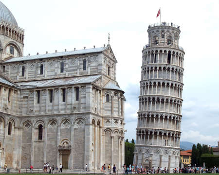 Pisa leaning tower and church in Italy Imagens