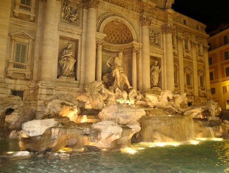 The night view of Fontana di Trevi