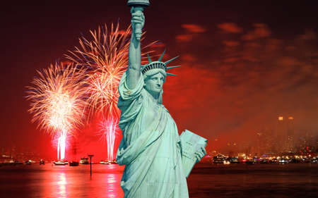 liberty statue: The Statue of Liberty and July 4th fireworks over Hudson River