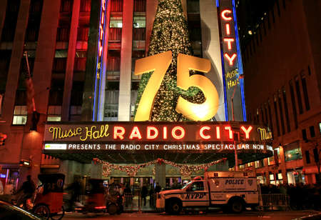 newyear night: The famous Radio City Music Hall in Midtown Manhattan NYC