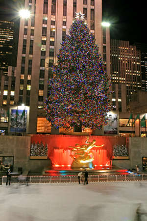 The Christmas decorations in The Rockefeller Center NYC
