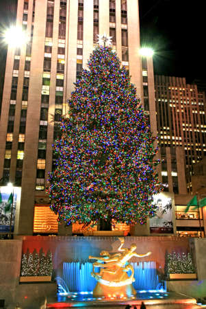 newyear night: The Christmas decorations in The Rockefeller Center NYC