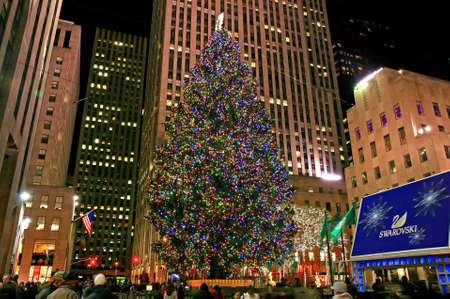 De kerst versiering in het Rockefeller Center NYC