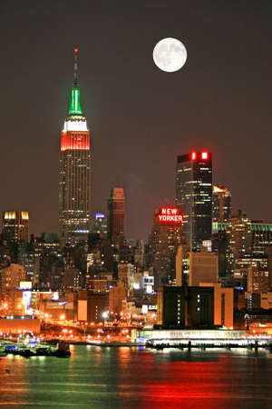 old moon: Manhattan Skyline at night, New York City