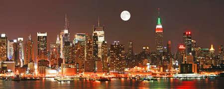 The panorama view of Manhattan skyline at Christmas Eve , New York City  Stock Photo - 7358046