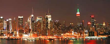 The panorama view of Manhattan skyline at Christmas Eve , New York City