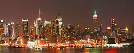 The panorama view of Manhattan skyline at Christmas Eve , New York City