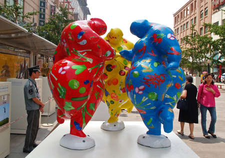 finalists: 2008 Beijing summer sports competition game national artistic city sculpture competition finalists displayed for public voting in the major shopping district �Wanf-Fu-Jing� in Beijing July 2006. The winning sculptures will be built at different sports competition sitesparks around city.