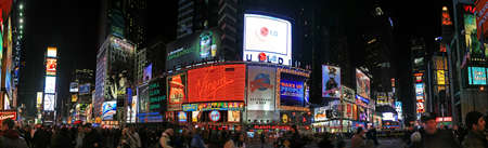 time square: The panorama view of Times Square in New York City Editorial