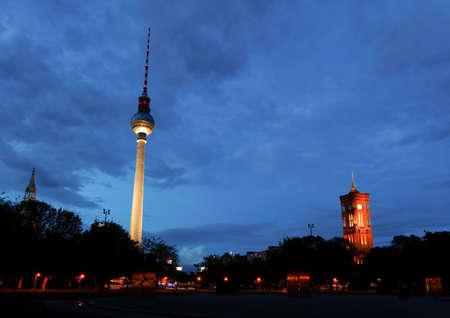 Berlin tv tower -  fernsehturm at night   photo