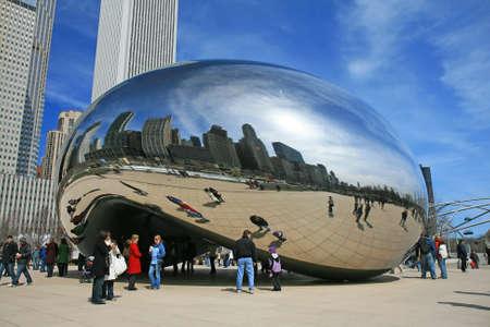 The Cloud Gate in Millennium Park in Chicago