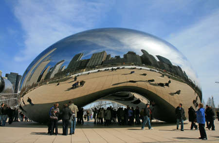 contemporary: The Cloud Gate in Millennium Park Chicago