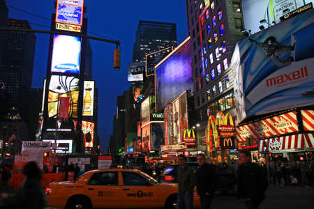 The Times Square in New York City at night