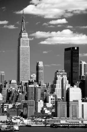 empire state building: The Mid-town Manhattan Skyline viewed from New Jersey side