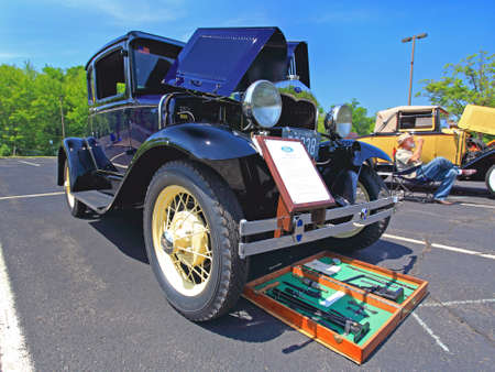 An antique and classic car show in a small town in New Jersey  - a wide-angle view