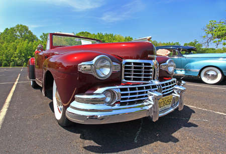 modified: An antique and classic car show in a small town in New Jersey  - a wide-angle view