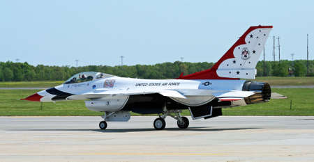 thunderbird: The Thunder-Bird is ready to take-off at the Air Show at McGuire AFB, New Jersey