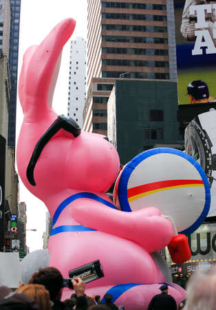MANHATTAN - NOVEMBER 26 : Energizer Bunny balloon passing Times Square at the Macys Thanksgiving Day Parade November 26, 2009 in Manhattan.