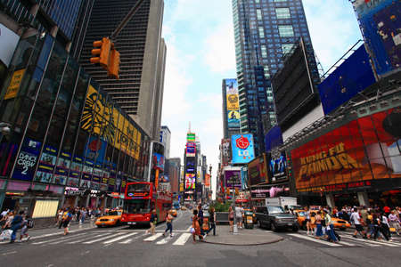 The famous Times Square at Mid-town Manhattan - a wide angle view