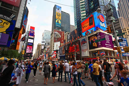 square: The famous Times Square at Mid-town Manhattan - a wide angle view