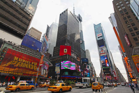 time square: The famous Times Square at Mid-town Manhattan - a wide angle view