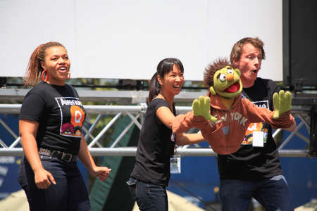 NEW YORK - JULY 17: Carey Anderson, Sala Iwamatsu and Christian Anderson Performed in the Avenue Q - The Broadway at Bryant Park in NYC - a free public event on July 17, 2008
