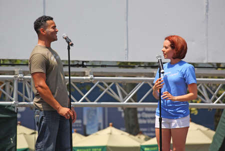 NEW YORK - JULY 31: Christopher Jackson and Janet Dacal performed in the Heights - The Broadway at Bryant Park in NYC - a free public event on July 17, 2008