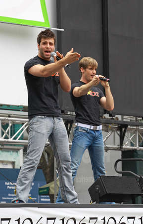 NEW YORK - JULY 31:  Michael Kadin with the cast performed in the Altar Boyz at The Broadway in Bryant Park in NYC - a free public event on July 31, 2008