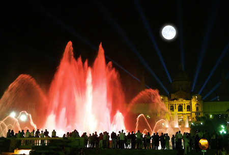 colourfully: Montjuic (magic) fountain in central Barcelona Spain  Stock Photo
