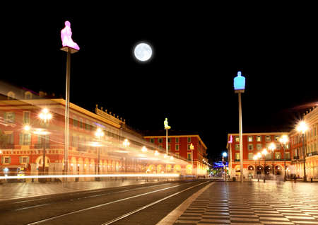 The Plaza Massena Square at night in Nice France photo