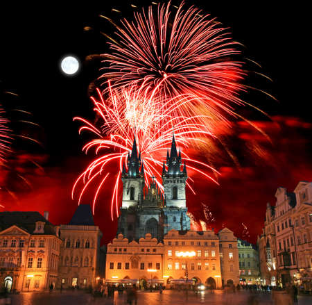 The Old Town Square in Prague City with a firework display     photo