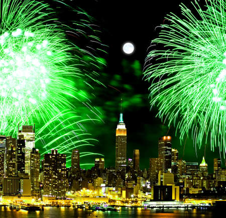 The New York City skyline and holiday fireworks Stok Fotoğraf