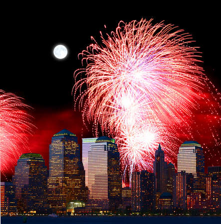The New York City skyline and holiday fireworks