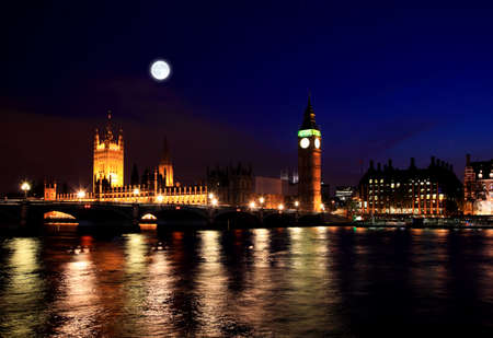 Big Ben et Westminster nuit à Londres Banque d'images - 7444451