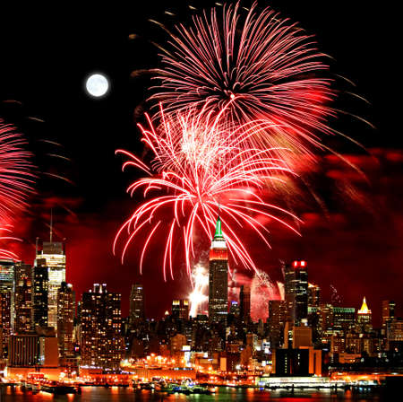 The New York City skyline and holiday fireworks Stock Photo - 7444739