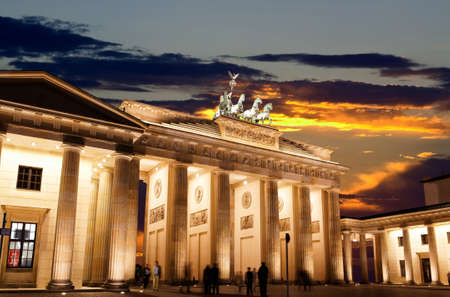 brandenburg gate: BRANDENBURG GATE at sunset in Berlin Germany Stock Photo