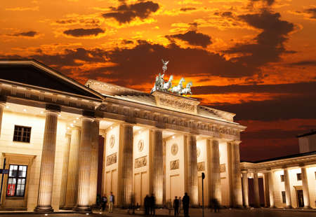 BRANDENBURG GATE at sunset in Berlin Germany Stok Fotoğraf