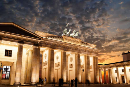 brandenburg: BRANDENBURG GATE at sunset in Berlin Germany Stock Photo