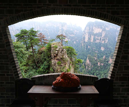 breathtaking: The breathtaking landscape in ZhangJiaJie national park in China Stock Photo