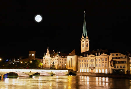 The night view of major landmarks in Zurich Switzerland Stok Fotoğraf