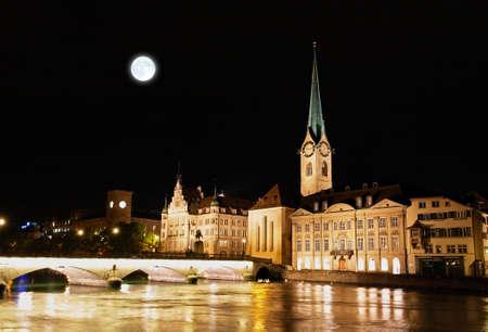 zurich: The night view of major landmarks in Zurich Switzerland Stock Photo