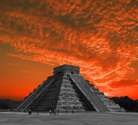 maya religion: The temples of chichen itza temple in Mexico, one of the new 7 wonders of the world