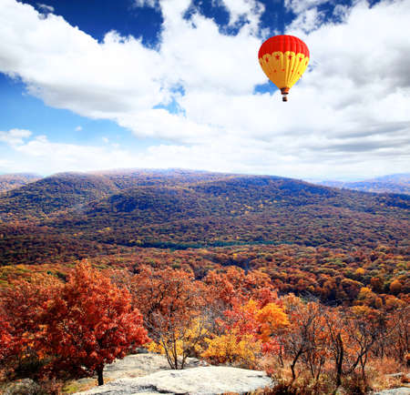The foliage scenery from the top of Bear Mountain in New York State  photo