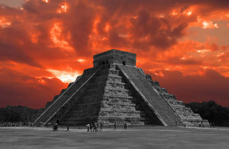mayan: The temples of chichen itza temple in Mexico, one of the new 7 wonders of the world