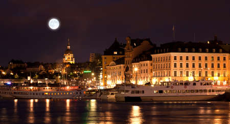 The Royal Palace in Stockholm at night  photo
