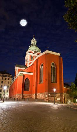 Sankt Jakobs kyrka church in stockholm at night